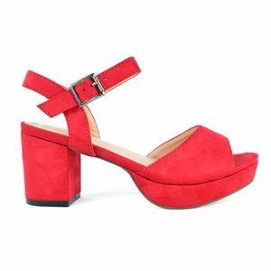 Bright Red Platform Sling-back Sandals